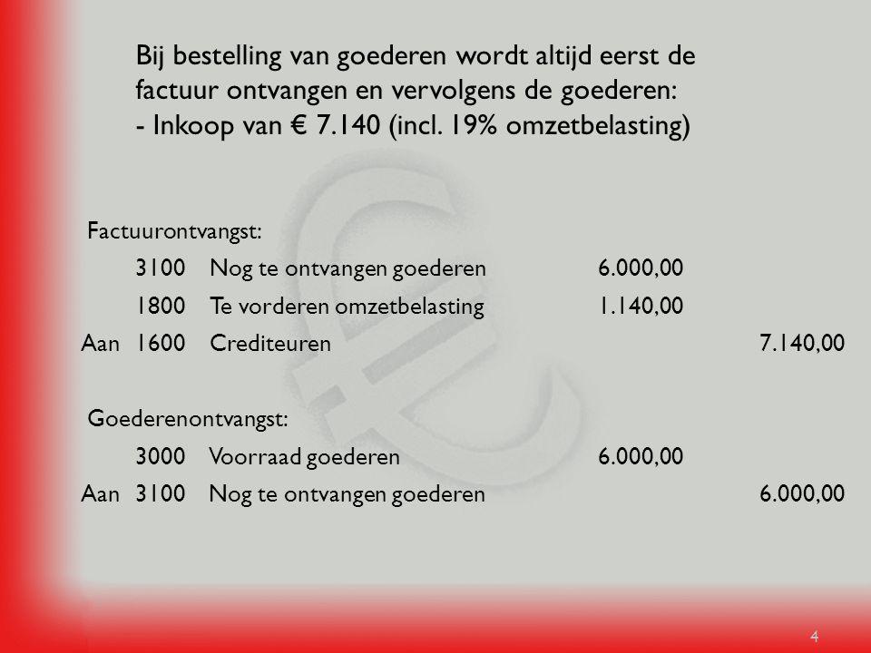 4 Bij bestelling van goederen wordt altijd eerst de factuur ontvangen en vervolgens de goederen: - Inkoop van € 7.140 (incl. 19% omzetbelasting) 6.000
