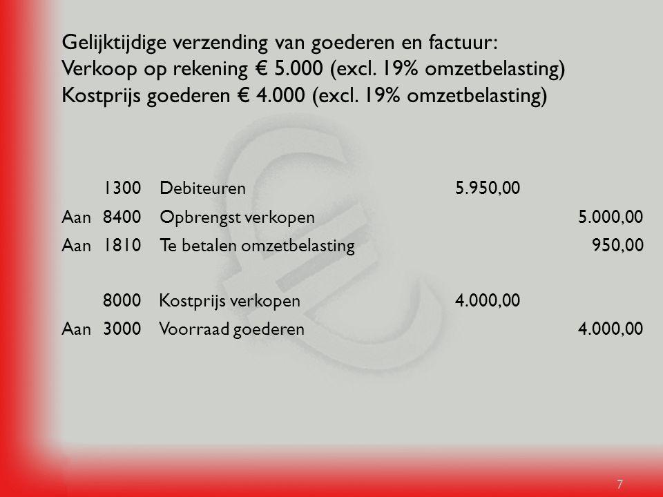7 Gelijktijdige verzending van goederen en factuur: Verkoop op rekening € 5.000 (excl. 19% omzetbelasting) Kostprijs goederen € 4.000 (excl. 19% omzet