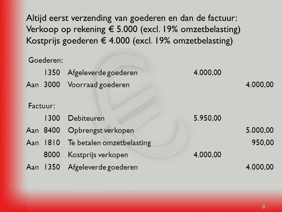 8 Altijd eerst verzending van goederen en dan de factuur: Verkoop op rekening € 5.000 (excl. 19% omzetbelasting) Kostprijs goederen € 4.000 (excl. 19%