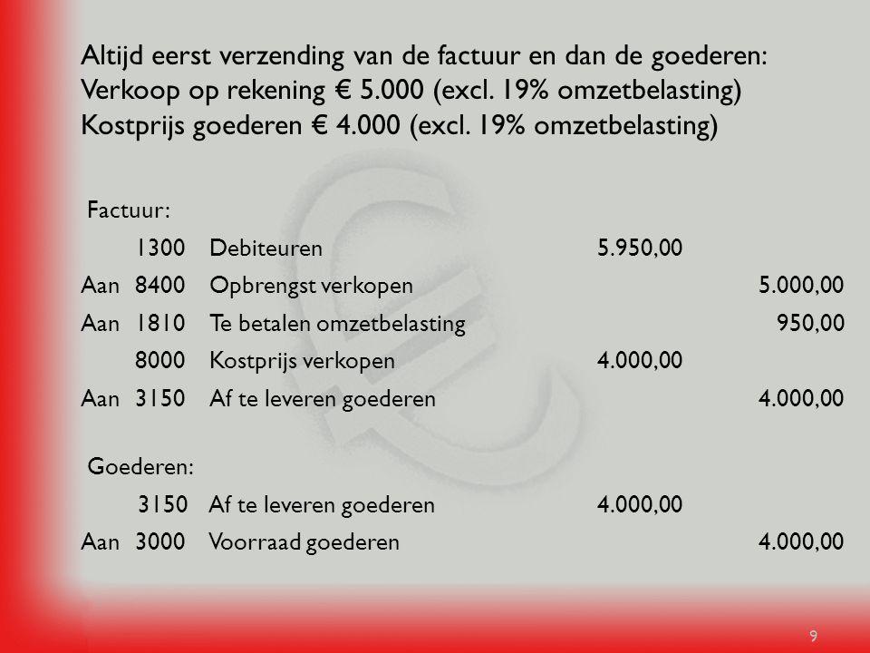 9 Altijd eerst verzending van de factuur en dan de goederen: Verkoop op rekening € 5.000 (excl. 19% omzetbelasting) Kostprijs goederen € 4.000 (excl.