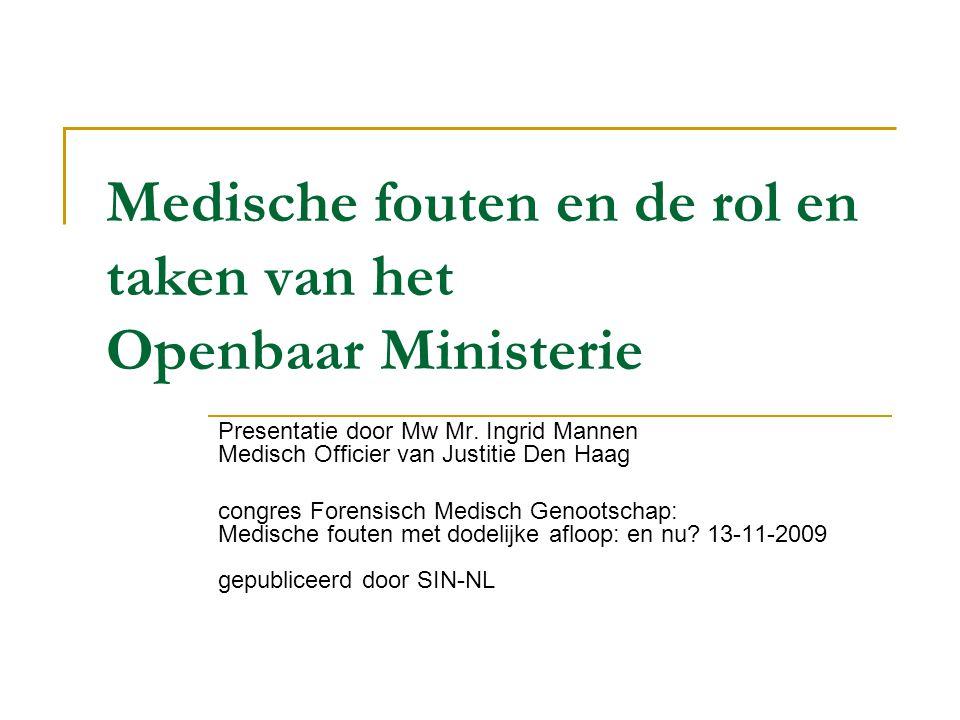 Medische fouten en de rol en taken van het Openbaar Ministerie Presentatie door Mw Mr. Ingrid Mannen Medisch Officier van Justitie Den Haag congres Fo
