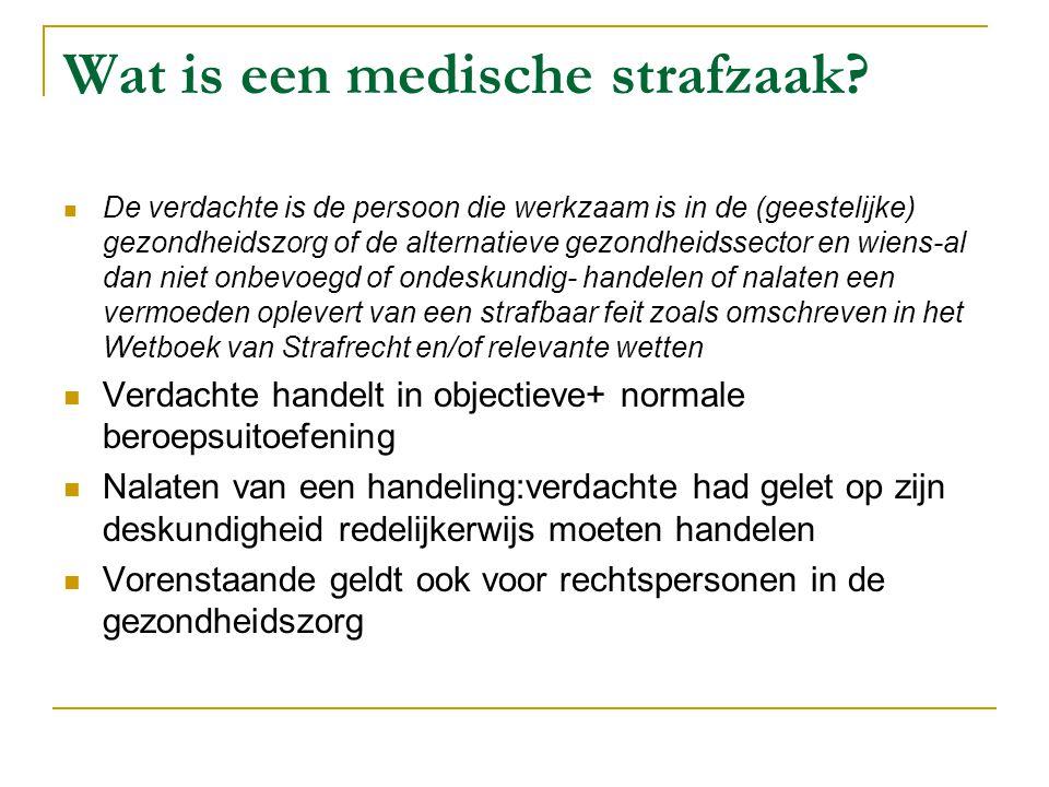 Wat is een medische strafzaak?  De verdachte is de persoon die werkzaam is in de (geestelijke) gezondheidszorg of de alternatieve gezondheidssector e