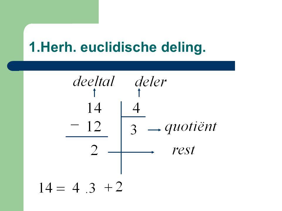 4.Deelbaarheid v/d veelterm door x - 1 Een veelterm in de onbepaalde x is deelbaar door x – 1 enkel en alleen indien de som van zijn coëfficiënten nul is.