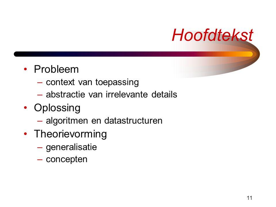 11 Hoofdtekst •Probleem –context van toepassing –abstractie van irrelevante details •Oplossing –algoritmen en datastructuren •Theorievorming –generalisatie –concepten