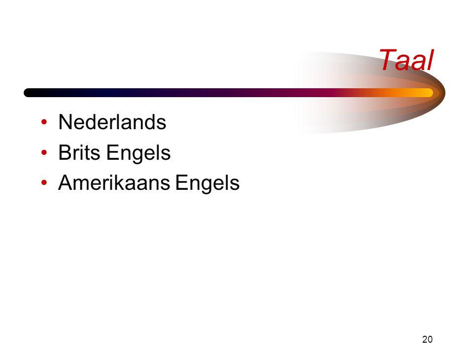 20 Taal •Nederlands •Brits Engels •Amerikaans Engels