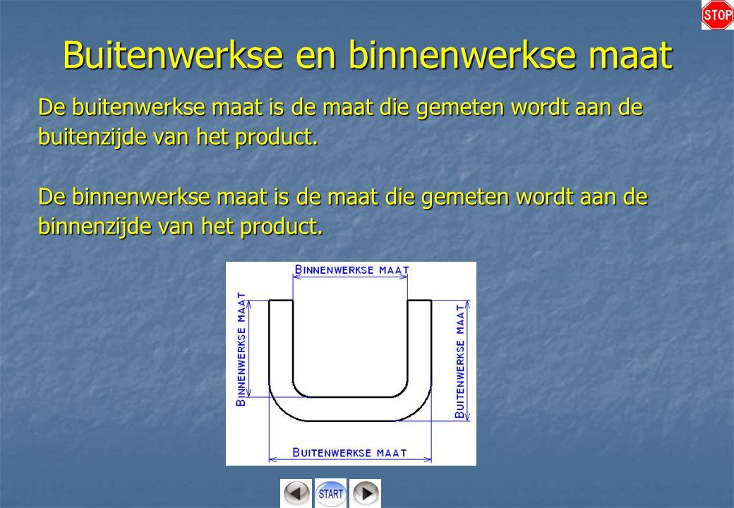Buitenwerkse en binnenwerkse maat De buitenwerkse maat is de maat die gemeten wordt aan de buitenzijde van het product. De binnenwerkse maat is de maa