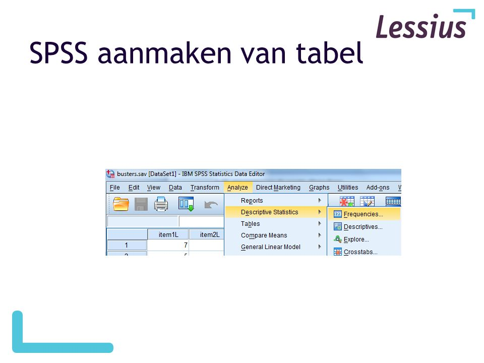SPSS aanmaken van tabel