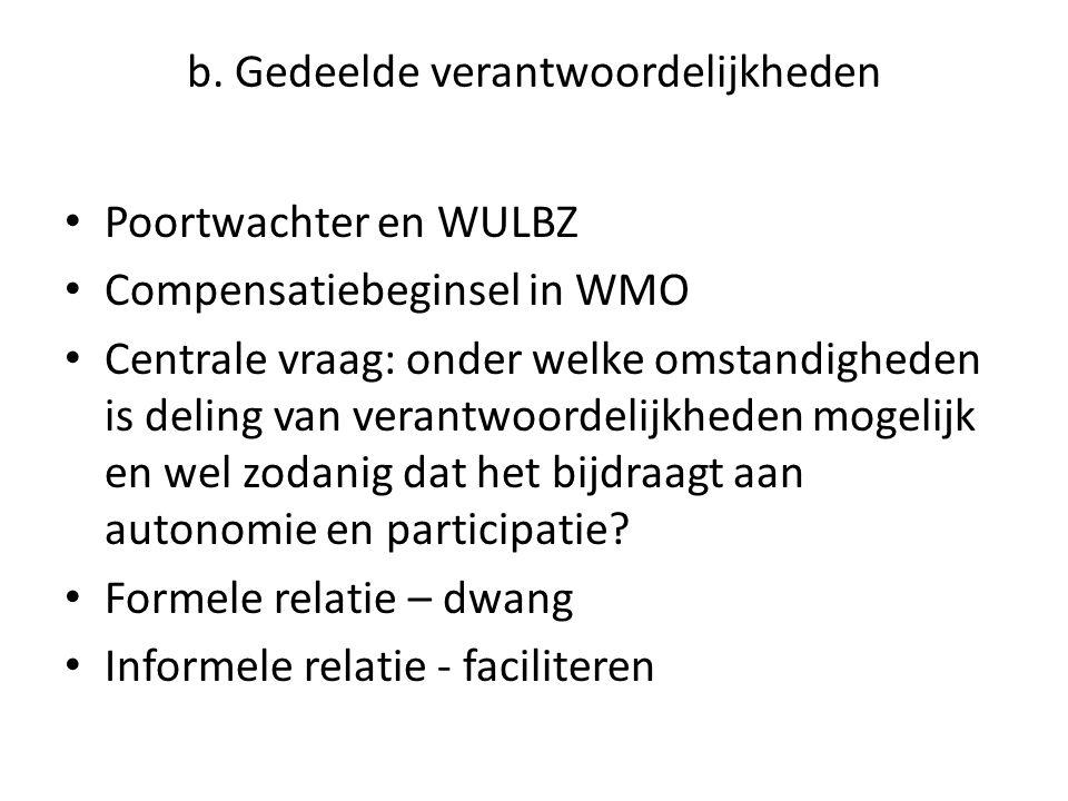 b. Gedeelde verantwoordelijkheden • Poortwachter en WULBZ • Compensatiebeginsel in WMO • Centrale vraag: onder welke omstandigheden is deling van vera
