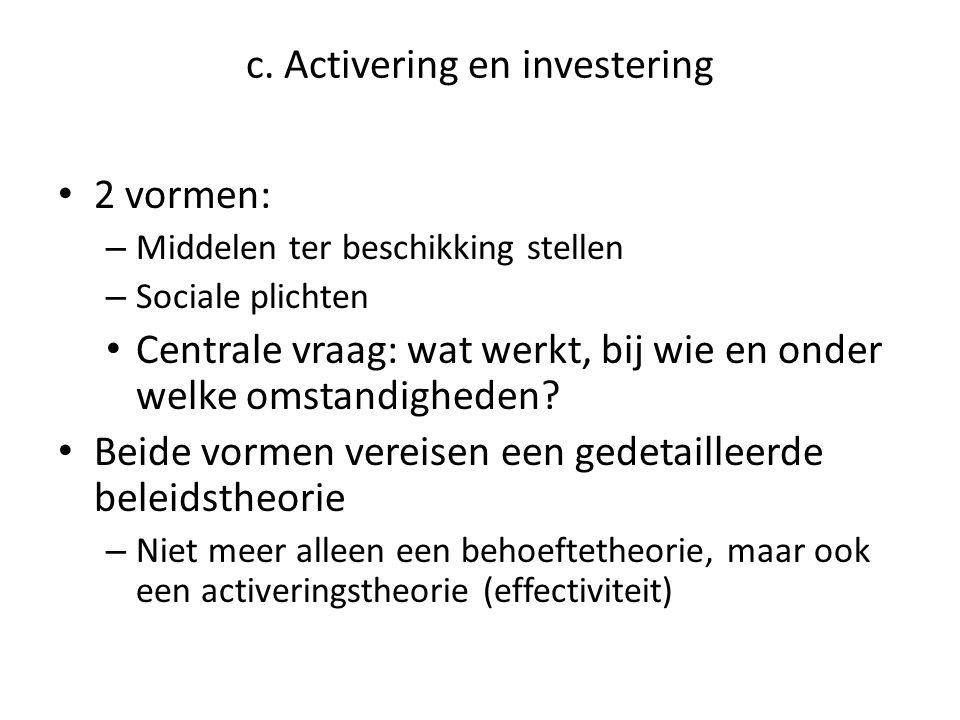 c. Activering en investering • 2 vormen: – Middelen ter beschikking stellen – Sociale plichten • Centrale vraag: wat werkt, bij wie en onder welke oms