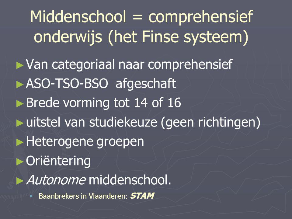 Middenschool = comprehensief onderwijs (het Finse systeem) ► ► Van categoriaal naar comprehensief ► ► ASO-TSO-BSO afgeschaft ► ► Brede vorming tot 14