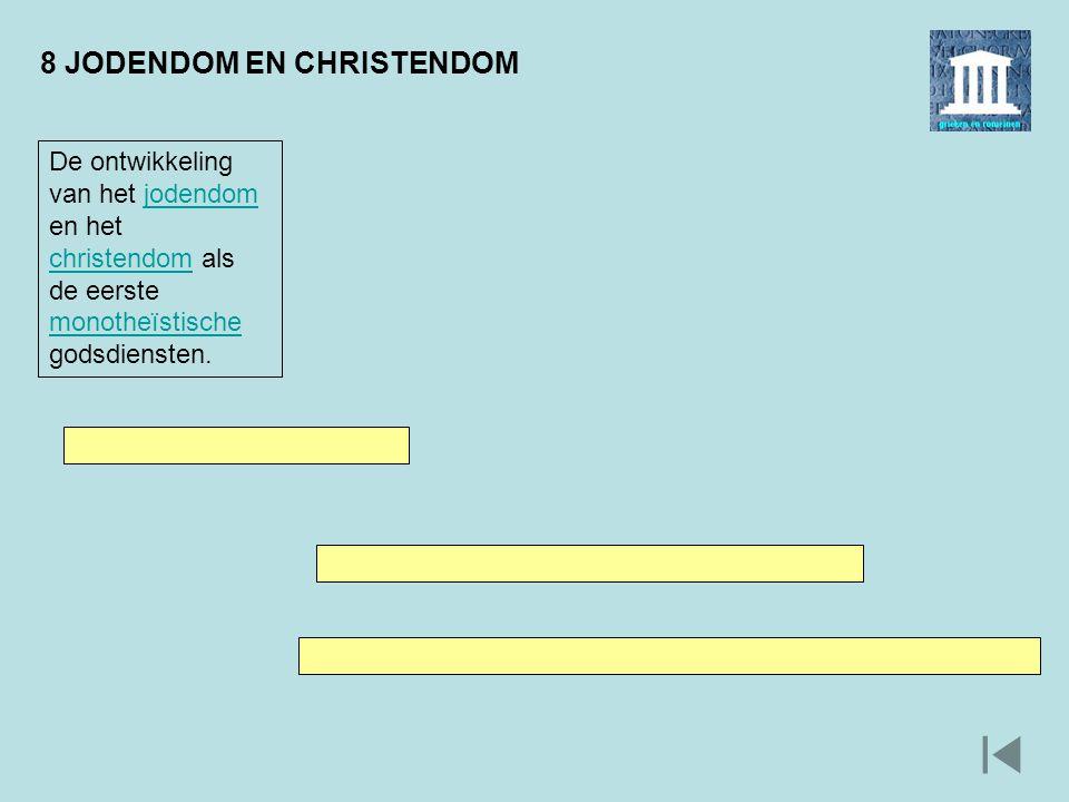 8 JODENDOM EN CHRISTENDOM De ontwikkeling van het jodendom en het christendom als de eerste monotheïstische godsdiensten.jodendom christendom monotheï