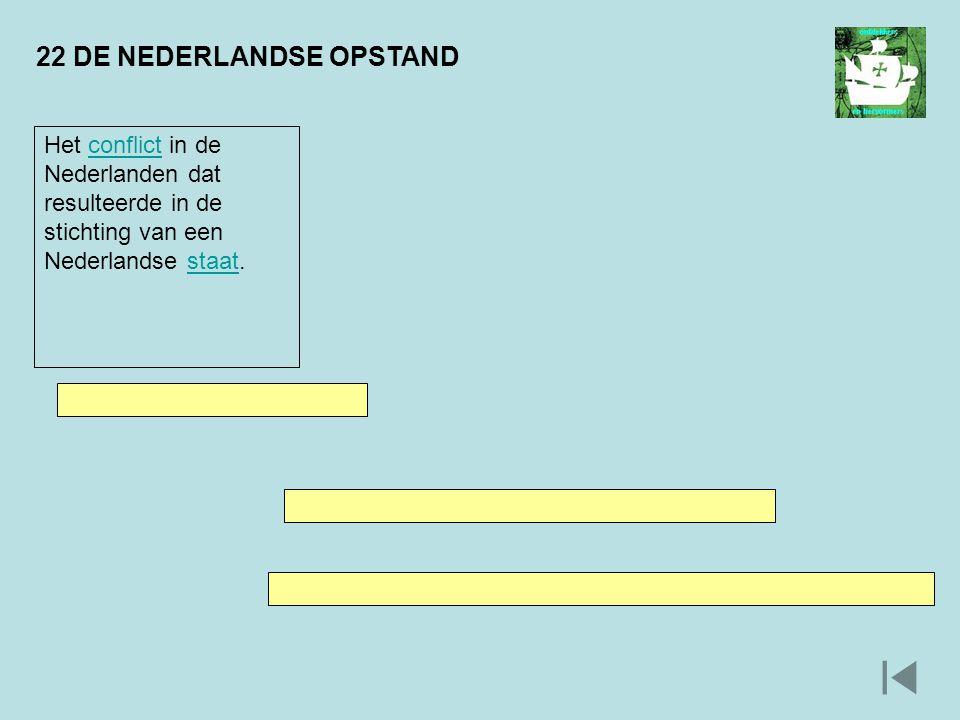22 DE NEDERLANDSE OPSTAND Het conflict in de Nederlanden dat resulteerde in de stichting van een Nederlandse staat.conflictstaat