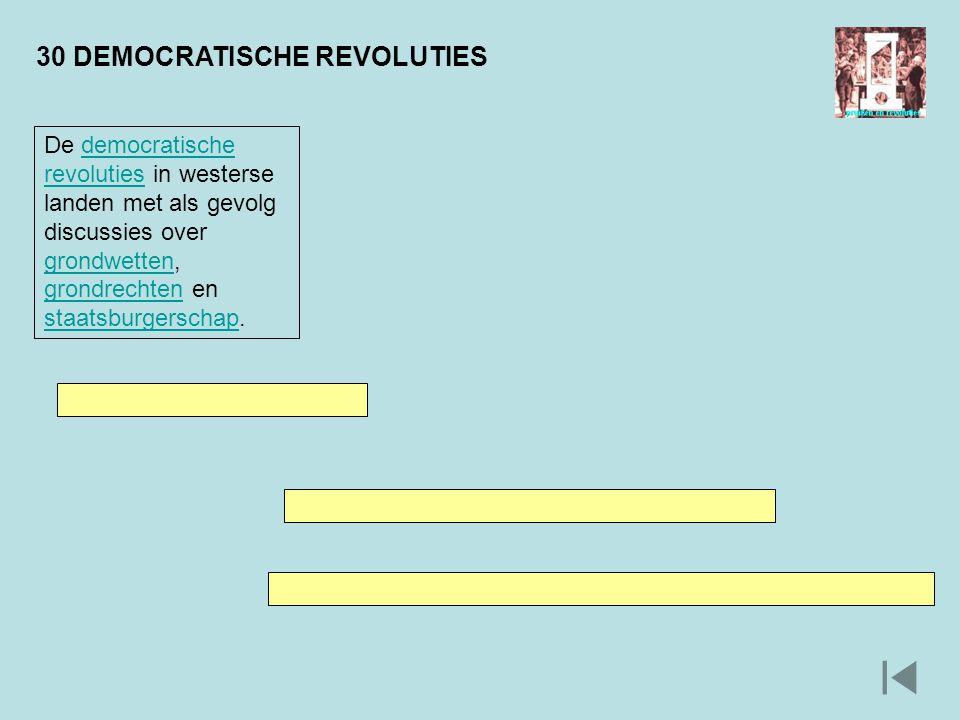 30 DEMOCRATISCHE REVOLUTIES De democratische revoluties in westerse landen met als gevolg discussies over grondwetten, grondrechten en staatsburgersch