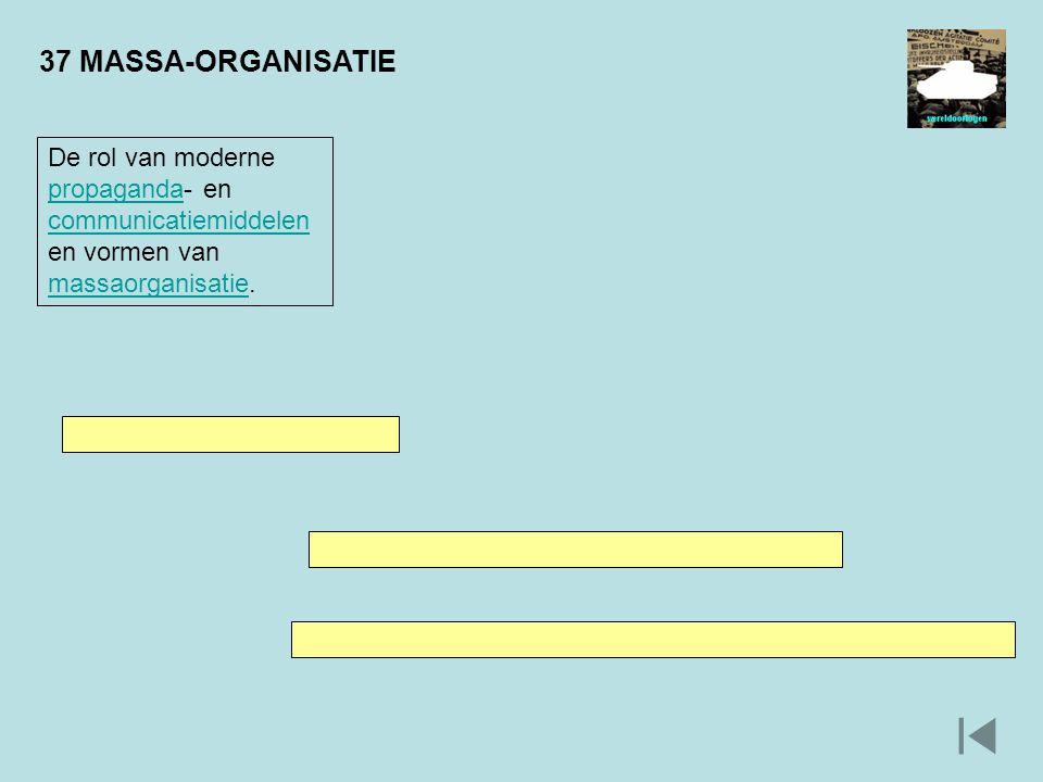 37 MASSA-ORGANISATIE De rol van moderne propaganda- en communicatiemiddelen en vormen van massaorganisatie. propaganda communicatiemiddelen massaorgan