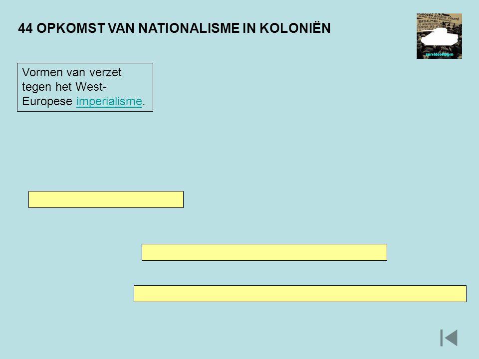 44 OPKOMST VAN NATIONALISME IN KOLONIËN Vormen van verzet tegen het West- Europese imperialisme.imperialisme