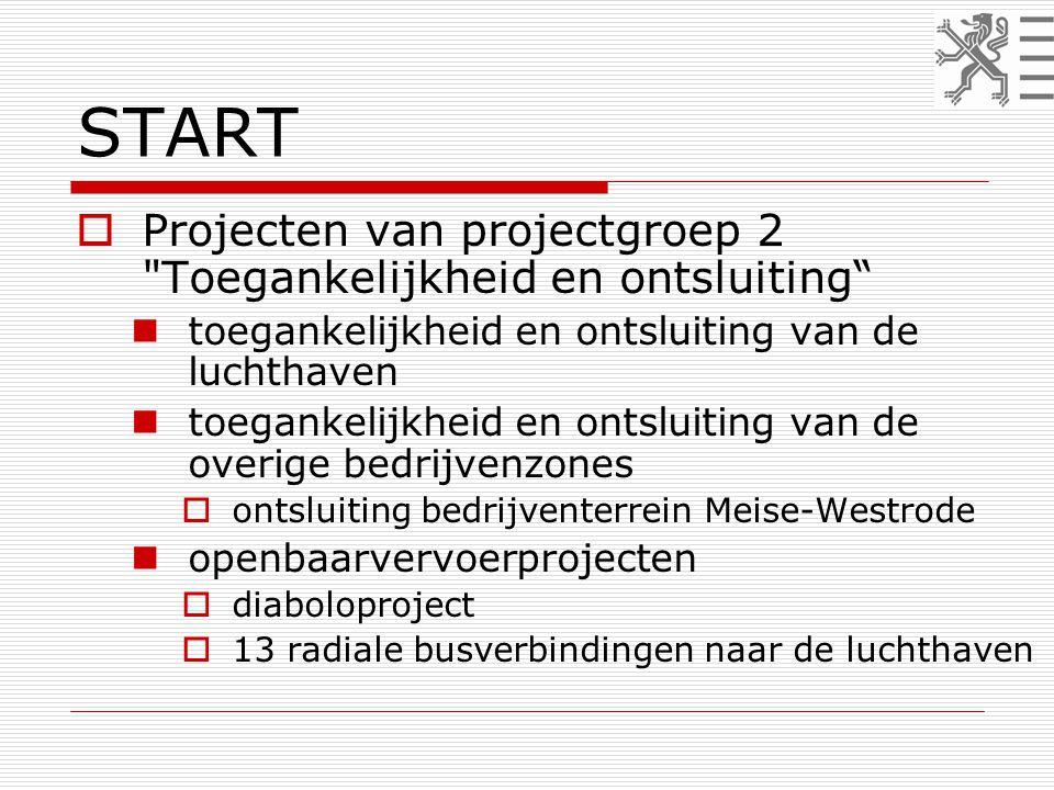START  Projecten van projectgroep 2 Toegankelijkheid en ontsluiting  toegankelijkheid en ontsluiting van de luchthaven  toegankelijkheid en ontsluiting van de overige bedrijvenzones  ontsluiting bedrijventerrein Meise-Westrode  openbaarvervoerprojecten  diaboloproject  13 radiale busverbindingen naar de luchthaven