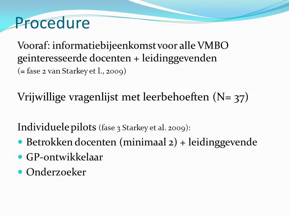 Procedure Vooraf: informatiebijeenkomst voor alle VMBO geinteresseerde docenten + leidinggevenden (= fase 2 van Starkey et l., 2009) Vrijwillige vragenlijst met leerbehoeften (N= 37) Individuele pilots (fase 3 Starkey et al.