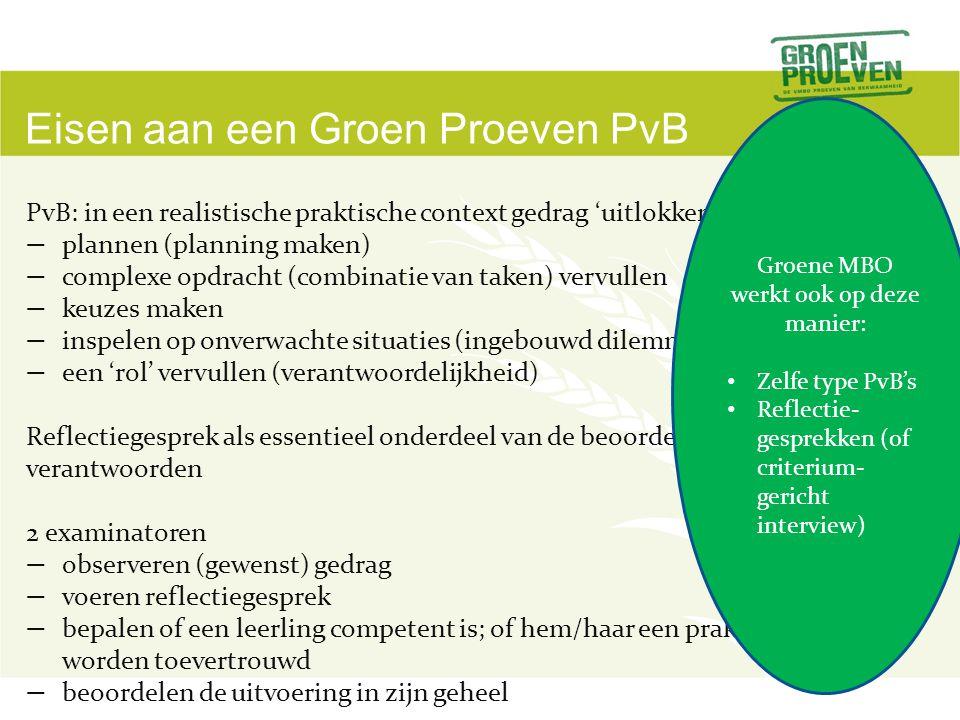 Eisen aan een Groen Proeven PvB PvB: in een realistische praktische context gedrag 'uitlokken'.