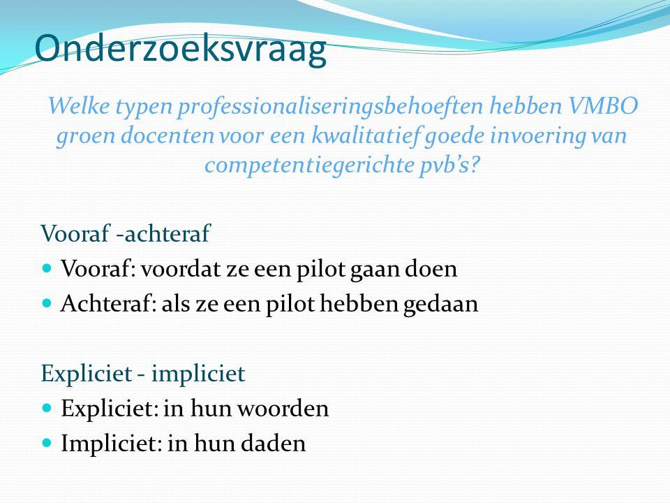 Onderzoeksvraag Welke typen professionaliseringsbehoeften hebben VMBO groen docenten voor een kwalitatief goede invoering van competentiegerichte pvb's.