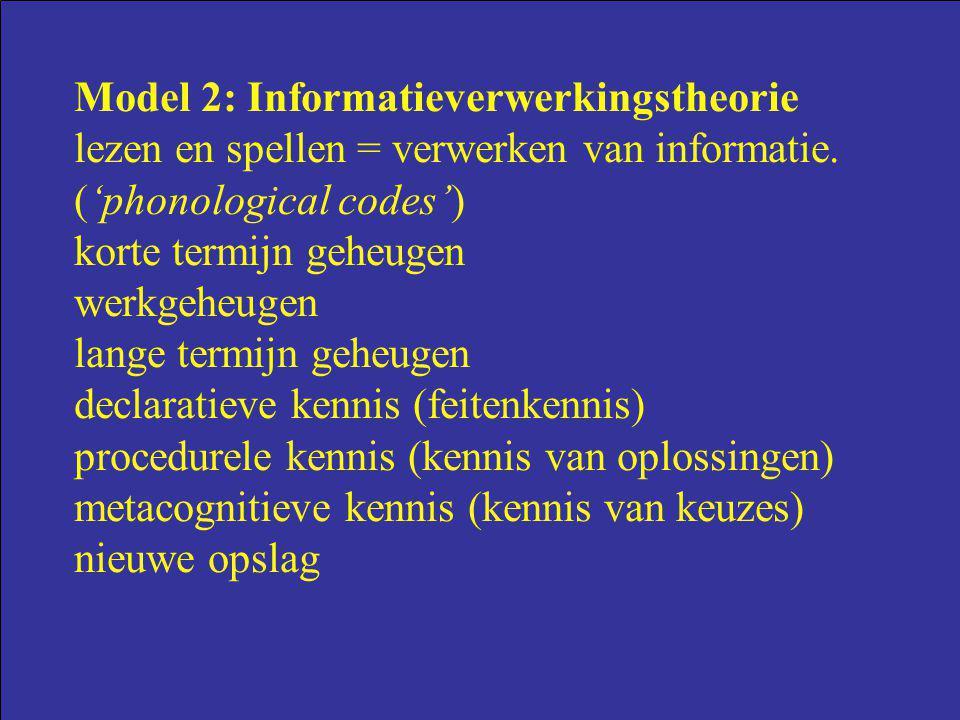 Model 2: Informatieverwerkingstheorie lezen en spellen = verwerken van informatie. ('phonological codes') korte termijn geheugen werkgeheugen lange te