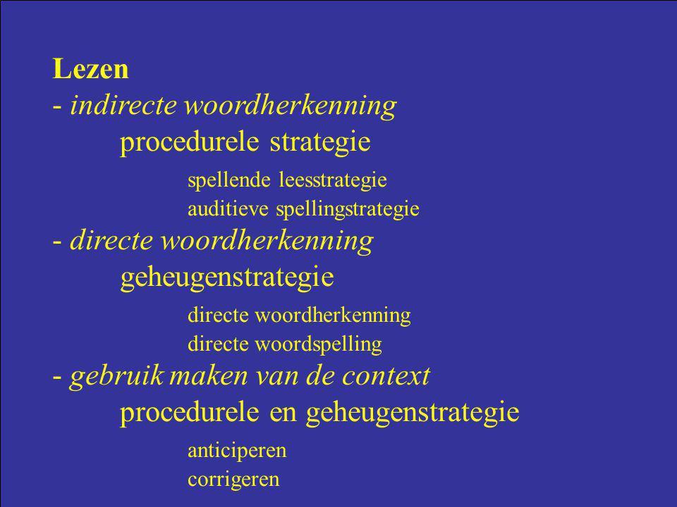 Lezen - indirecte woordherkenning procedurele strategie spellende leesstrategie auditieve spellingstrategie - directe woordherkenning geheugenstrategi