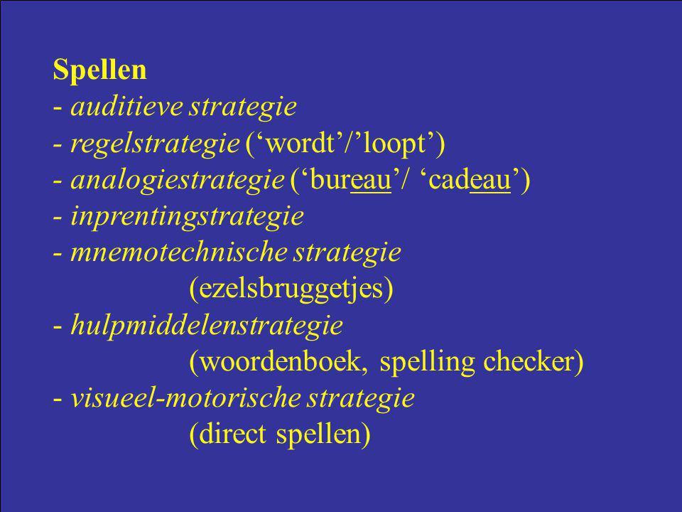 Spellen - auditieve strategie - regelstrategie ('wordt'/'loopt') - analogiestrategie ('bureau'/ 'cadeau') - inprentingstrategie - mnemotechnische stra