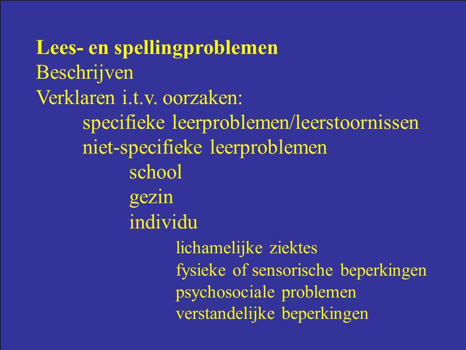 Lees- en spellingproblemen Beschrijven Verklaren i.t.v. oorzaken: specifieke leerproblemen/leerstoornissen niet-specifieke leerproblemen school gezin