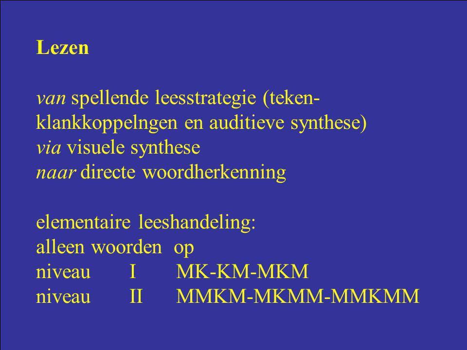 Lezen van spellende leesstrategie (teken- klankkoppelngen en auditieve synthese) via visuele synthese naar directe woordherkenning elementaire leeshan