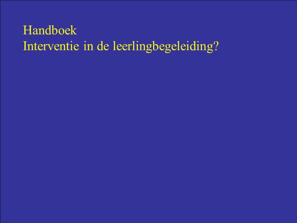 Handboek Interventie in de leerlingbegeleiding?