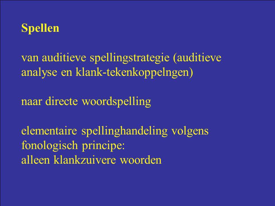 Spellen van auditieve spellingstrategie (auditieve analyse en klank-tekenkoppelngen) naar directe woordspelling elementaire spellinghandeling volgens