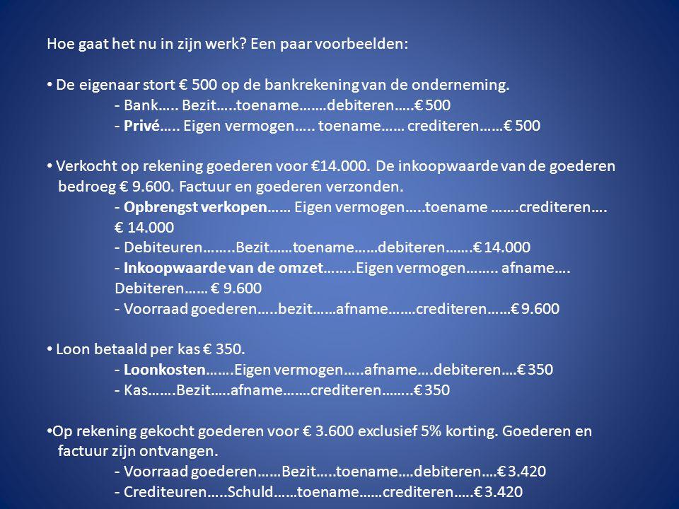 Hoe gaat het nu in zijn werk? Een paar voorbeelden: • De eigenaar stort € 500 op de bankrekening van de onderneming. - Bank….. Bezit…..toename…….debit