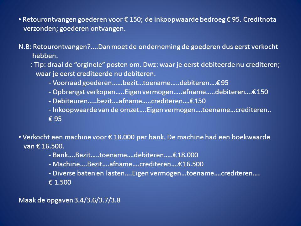 • Retourontvangen goederen voor € 150; de inkoopwaarde bedroeg € 95. Creditnota verzonden; goederen ontvangen. N.B: Retourontvangen?....Dan moet de on