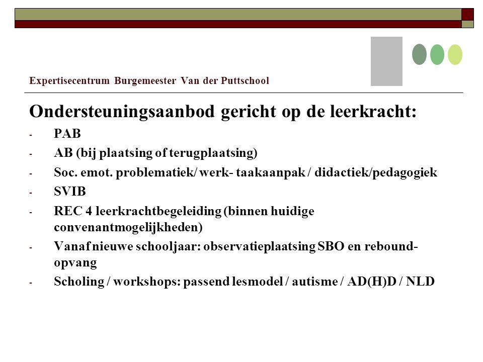 Expertisecentrum Burgemeester Van der Puttschool Ondersteuningsaanbod gericht op de leerkracht: - PAB - AB (bij plaatsing of terugplaatsing) - Soc.