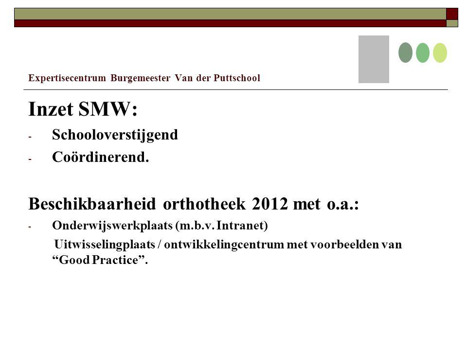 Expertisecentrum Burgemeester Van der Puttschool Inzet SMW: - Schooloverstijgend - Coördinerend.