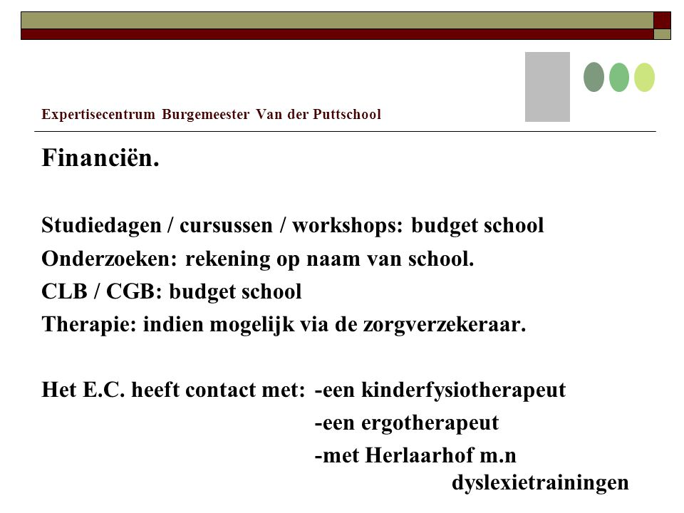 Expertisecentrum Burgemeester Van der Puttschool Financiën.