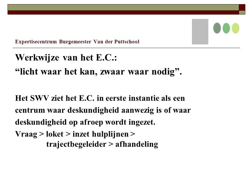 Expertisecentrum Burgemeester Van der Puttschool Werkwijze van het E.C.: licht waar het kan, zwaar waar nodig .