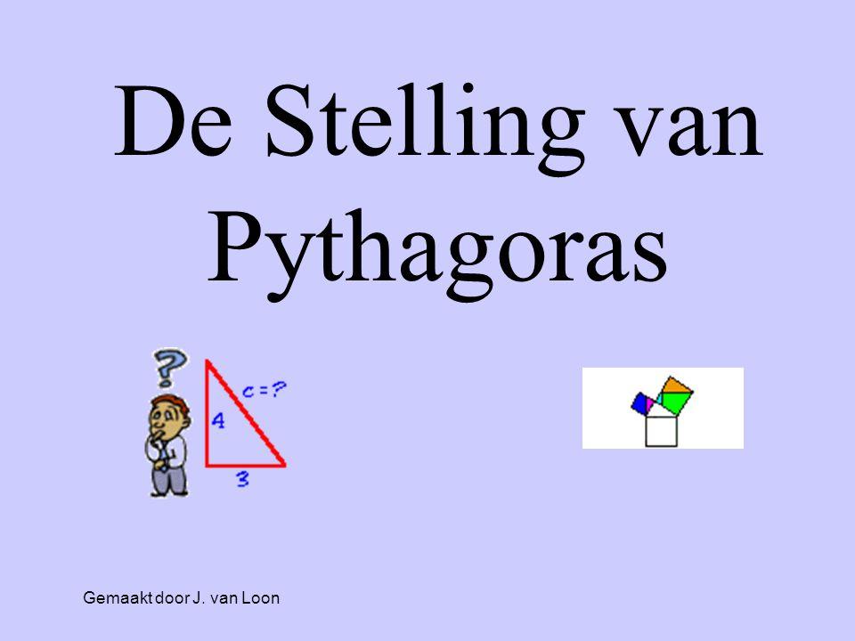 • Gaat over rechthoekige driehoeken De Stelling van Pythagoras: AB C Hoek A = 90 o Rechthoekzijde 1 = AB Rechthoekzijde 2 = AC Lange zijde = BC • Kan ALLÉÉN in rechthoekige driehoeken