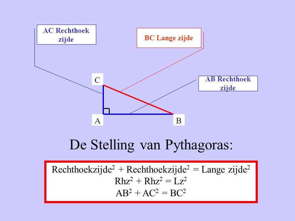 AC Rechthoek zijde BC Lange zijde AB Rechthoek zijde AB C Rechthoekzijde 2 + Rechthoekzijde 2 = Lange zijde 2 Rhz 2 + Rhz 2 = Lz 2 AB 2 + AC 2 = BC 2 De Stelling van Pythagoras: