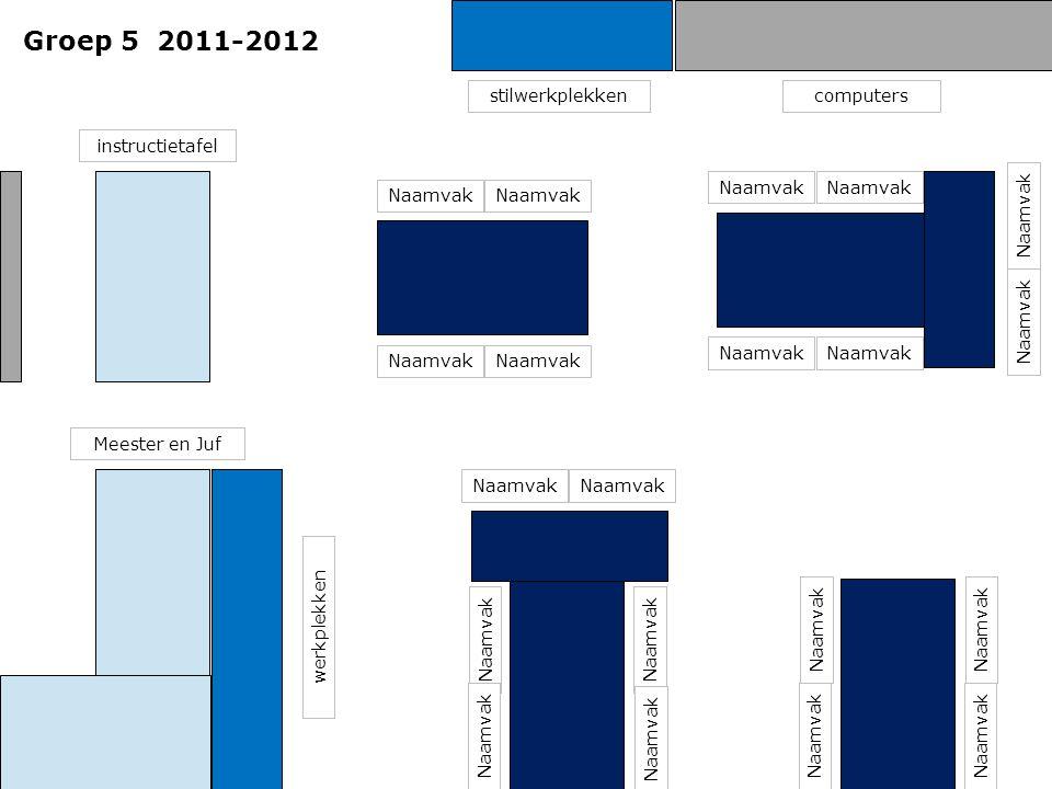 Groep 5 2011-2012 Meester en Juf instructietafel computersstilwerkplekken Naamvak werkplekken Naamvak