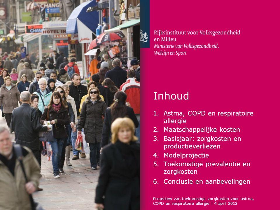 Inhoud 1.Astma, COPD en respiratoire allergie 2.Maatschappelijke kosten 3.Basisjaar: zorgkosten en productieverliezen 4.Modelprojectie 5.Toekomstige prevalentie en zorgkosten 6.Conclusie en aanbevelingen Projecties van toekomstige zorgkosten voor astma, COPD en respiratoire allergie | 4 april 2013