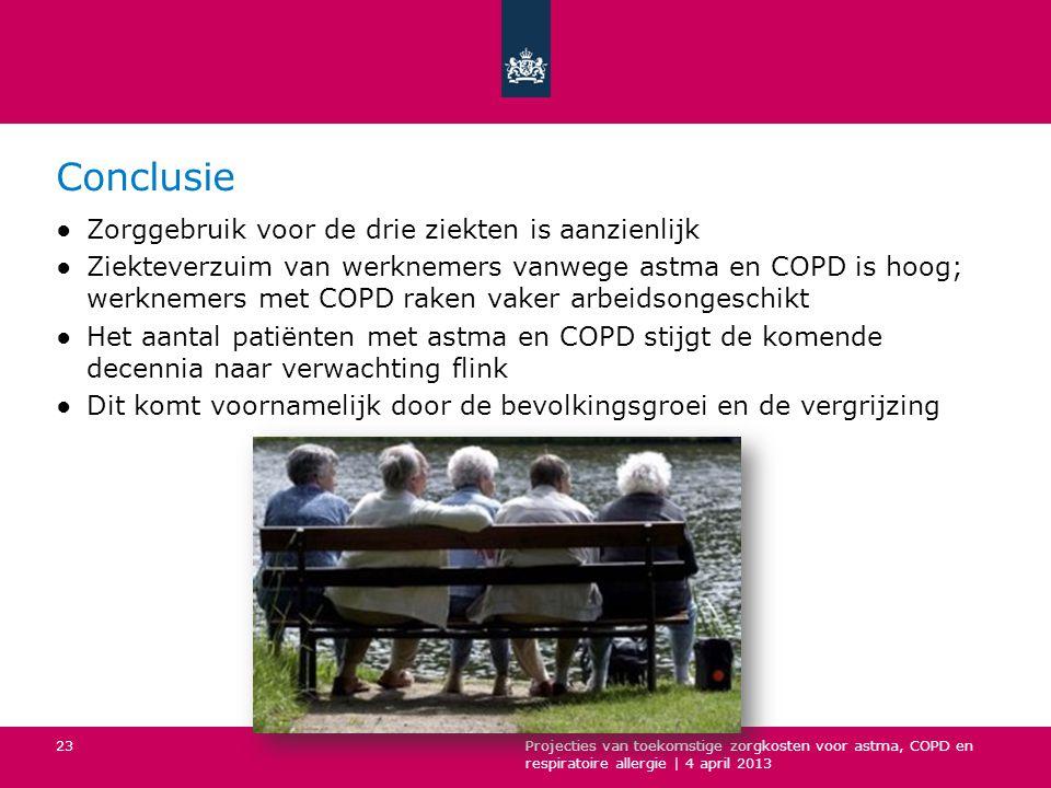 Conclusie ●Zorggebruik voor de drie ziekten is aanzienlijk ●Ziekteverzuim van werknemers vanwege astma en COPD is hoog; werknemers met COPD raken vaker arbeidsongeschikt ●Het aantal patiënten met astma en COPD stijgt de komende decennia naar verwachting flink ●Dit komt voornamelijk door de bevolkingsgroei en de vergrijzing Projecties van toekomstige zorgkosten voor astma, COPD en respiratoire allergie | 4 april 2013 23