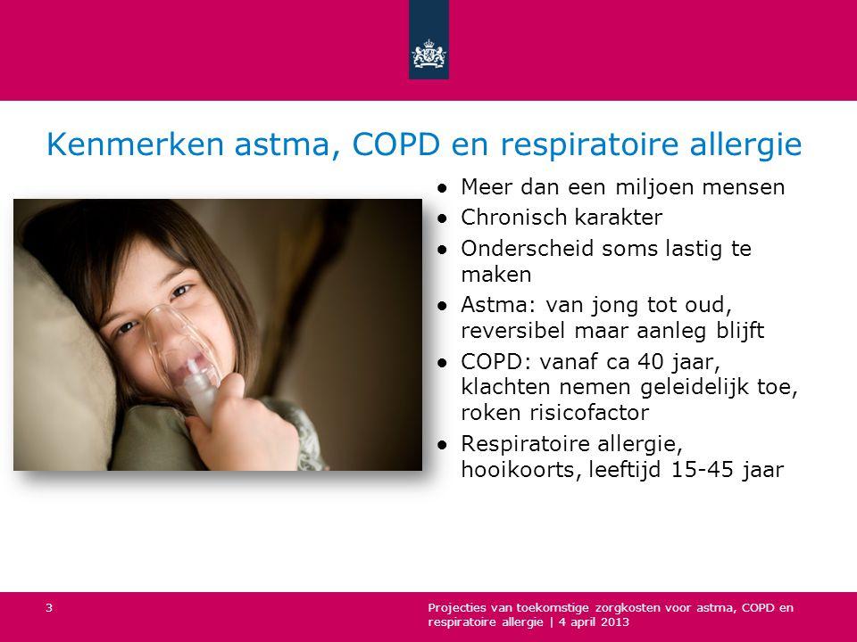Conclusie vervolg ●De zorgkosten zullen naar verwachting toenemen: voor respiratoire allergie met 73% voor astma met 150% voor COPD met 220% ●De geschatte zorgkosten voor deze drie ziekten bedragen dan ongeveer 2 miljard euro in 2032 ●Toekomst is onzeker: onderzoek weerspiegelt huidige trends in zorggebruik en kosten, maar is ook afhankelijk van beleid en gedrag van mensen Projecties van toekomstige zorgkosten voor astma, COPD en respiratoire allergie   4 april 2013 24