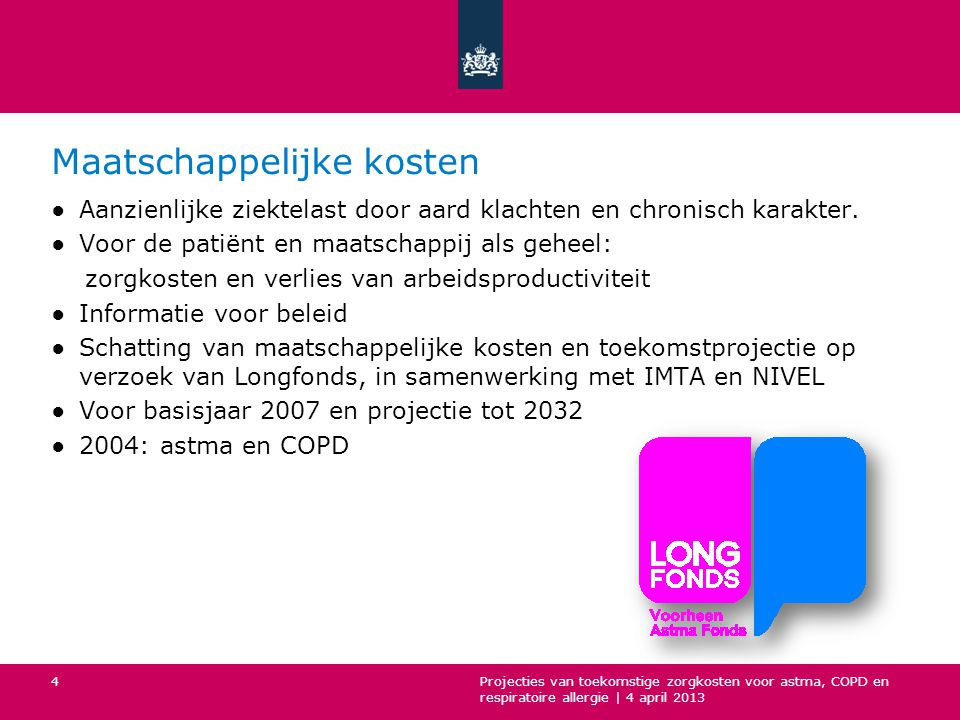 Zorgkosten astma, COPD en respiratoire allergie Projecties van toekomstige zorgkosten voor astma, COPD en respiratoire allergie   4 april 2013 5
