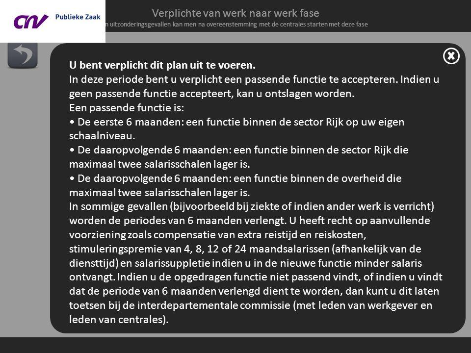 Verplichte van werk naar werk fase In uitzonderingsgevallen kan men na overeenstemming met de centrales starten met deze fase 4. Van werk naar werk on