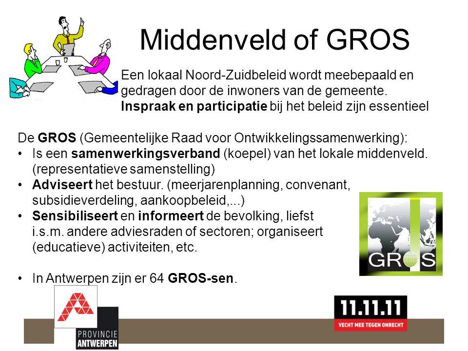 Middenveld of GROS De GROS (Gemeentelijke Raad voor Ontwikkelingssamenwerking): •Is een samenwerkingsverband (koepel) van het lokale middenveld.