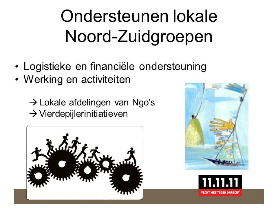 Ondersteunen lokale Noord-Zuidgroepen •Logistieke en financiële ondersteuning •Werking en activiteiten  Lokale afdelingen van Ngo's  Vierdepijlerinitiatieven