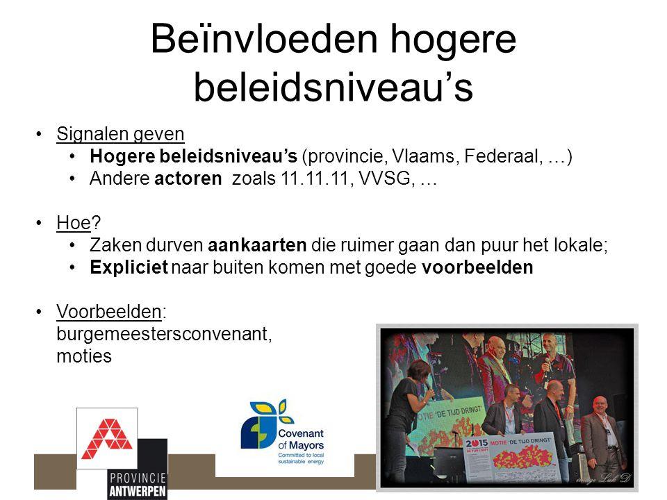 Beïnvloeden hogere beleidsniveau's •Signalen geven •Hogere beleidsniveau's (provincie, Vlaams, Federaal, …) •Andere actoren zoals 11.11.11, VVSG, … •Hoe.