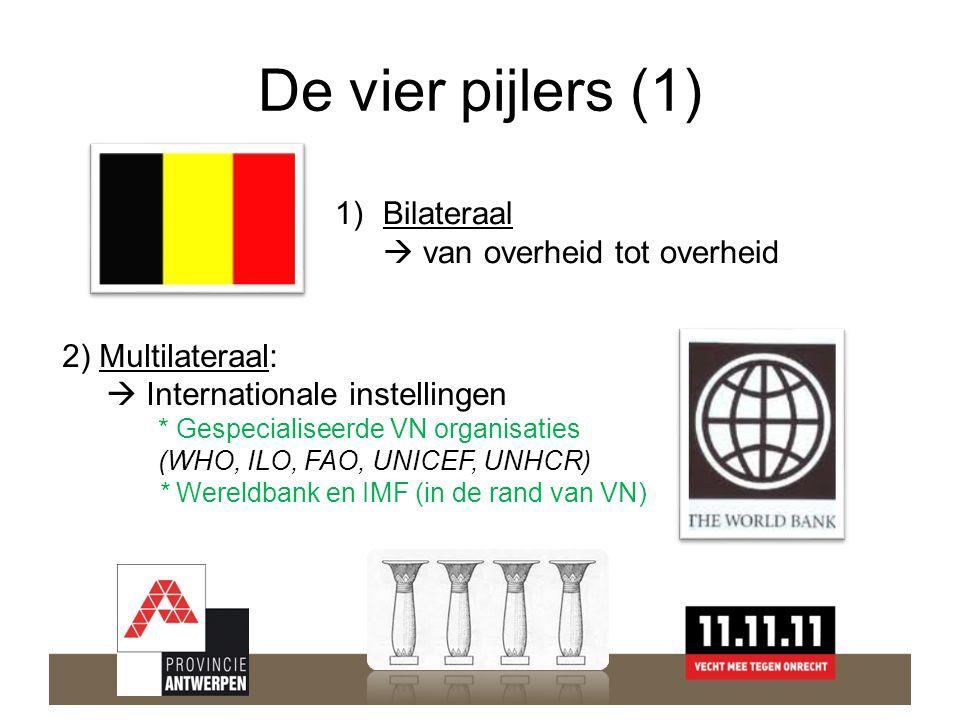 De vier pijlers (1) 1)Bilateraal  van overheid tot overheid 2) Multilateraal:  Internationale instellingen * Gespecialiseerde VN organisaties (WHO, ILO, FAO, UNICEF, UNHCR) * Wereldbank en IMF (in de rand van VN)