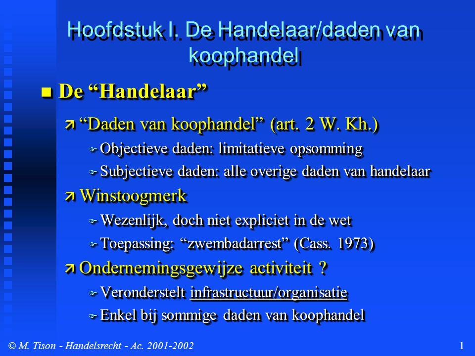 © M. Tison- Handelsrecht - Ac. 2001-20021  De Handelaar  Daden van koophandel (art.