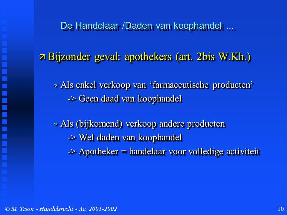 © M. Tison- Handelsrecht - Ac. 2001-200210  Bijzonder geval: apothekers (art.